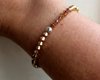 Yellow Golden Swarovski crystal stretch bracelet with Sterling Silver or Gold fill bead