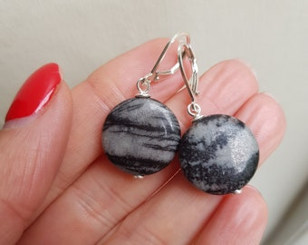 Picasso Jasper earrings Sterling Silver black and grey gemstone earrings large coin earrings pick your stones OOAK jewellery gift for her