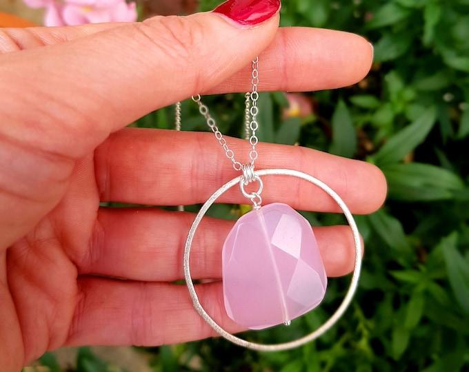 Sterling Silver Rose Quartz pendant necklace - January Birthstone jewellery gift - Heart Chakra - Yoga lover