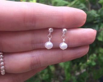 Tiny Freshwater pearl drop earrings Sterling Silver 18K Gold Fill small 5mm real white pearl earring June Birthstone jewellery gift for girl