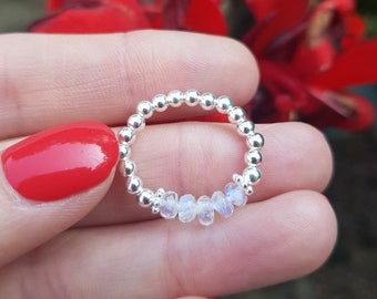 MOONSTONE RING STERLING Silver / Gold Fill beaded white gemstone bead ring stretch ring stacking ring June Birthstone jewellery gift for her