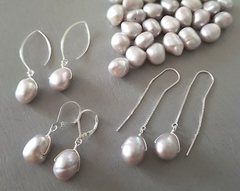 Grey Baroque Freshwater pearl earrings Sterling Silver large gray pearl drop earrings real pearl earrings leverback hook threader gift mum