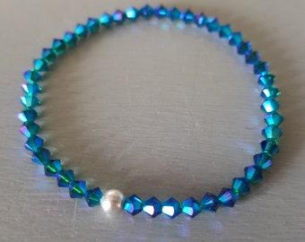 Peacock Blue Swarovski crystal stretch bracelet Sterling Silver or Gold Fill tiny blue green AB beaded bracelet Swarovski Crystal jewellery