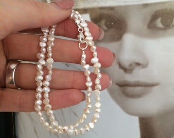 Tiny Freshwater Pearl choker necklace Sterling Silver or Gold Fill small 4mm real white Baroque pearl necklace June Birthstone jewelry gift