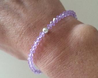 Lilac Swarovski crystal stretch bracelet with Sterling Silver or Gold Fill bead violet Swarovski Crystal jewellery gift for girl teenager