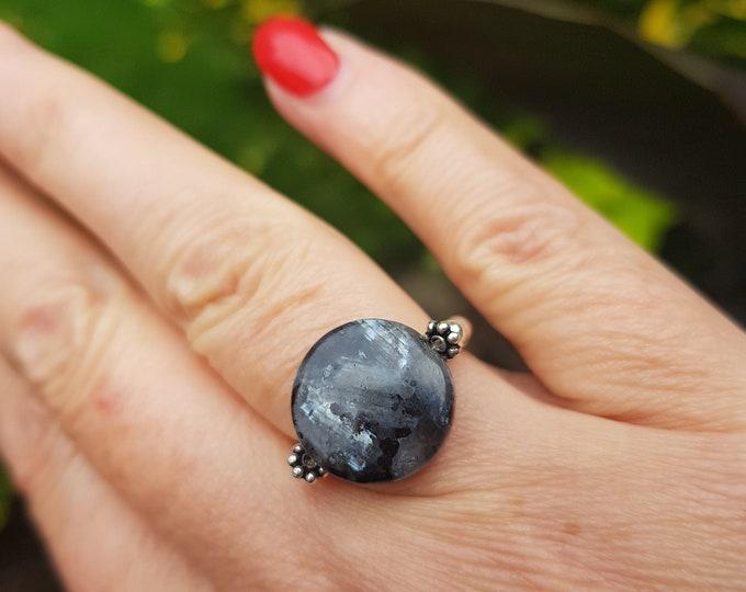LABRADORITE stretch ring STERLING Silver beaded grey gemstone ring Boho ring gray Moonstone chakra jewellery yoga ring OOAK gift