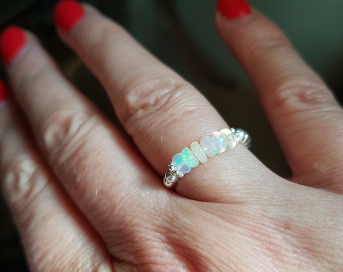 Ethiopian OPAL Ring Sterling Silver or Gold fill tiny gemstone bead stretch Ring OCTOBER Birthstone jewellery Welo Opal jewelry gift
