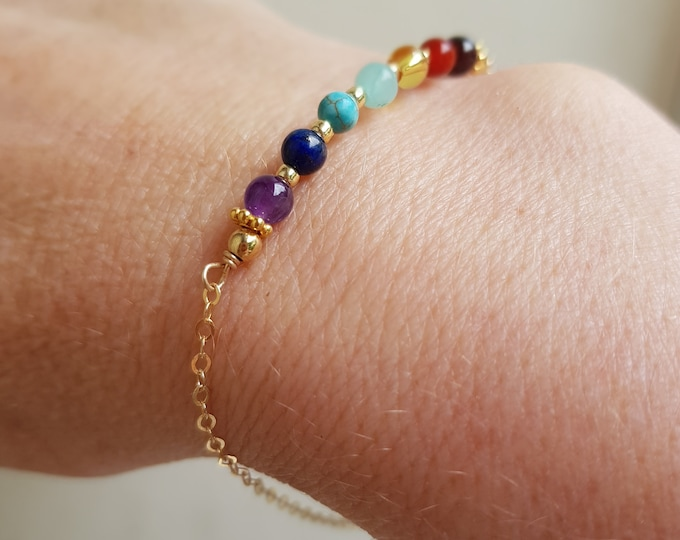 18K Gold Fill multi gemstone Bracelet or Sterling Silver tiny 7 Chakra bead Bracelet small beaded bracelet yoga jewelry Rainbow jewellery