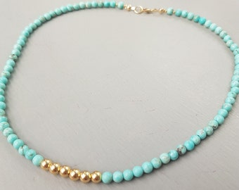 Turquoise necklace choker 18K Gold Fill or Sterling Silver real 4mm tiny blue gemstone bead necklace December birthstone jewelry Chakra gift