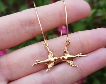 Gold Fill bird earring long hooks, 14K Gold unique swallow bird earrings Handmade Gold bird earrings dainty Gold jewelry jewellery gift girl