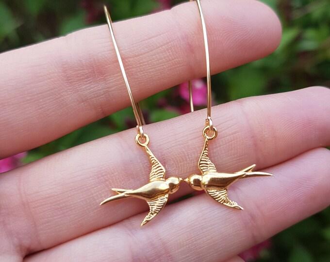 Gold Fill bird earring long hooks small Gold unique swallow bird earrings Handmade Gold bird earrings dainty jewellery teenage girl gift