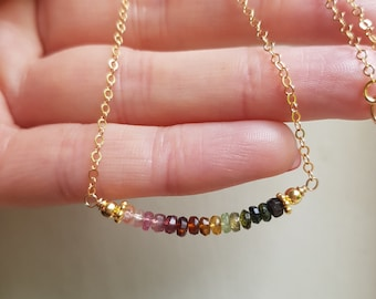Tiny Watermelon Tourmaline choker necklace 18K Gold Fill bead necklace real Tourmaline jewellery October Birthstone jewellery gift for her
