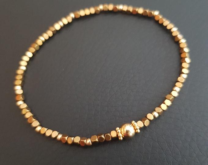 Gold Hematite crystal stretch bracelet tiny 2mm Gold nugget gemstone bead bracelet skinny stacking jewellery minimal dainty beaded gift