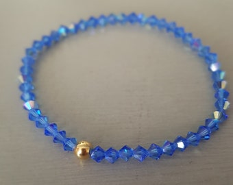 Sapphire Blue AB Swarovski crystal stretch bracelet Sterling Silver or Gold Fill tiny beaded bracelet - September Birthstone jewellery gift