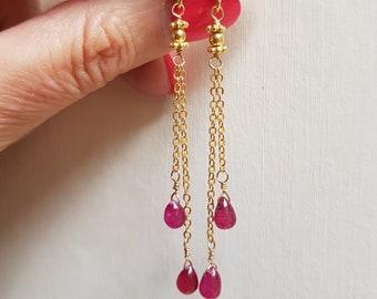 Tiny Gold Fill Ruby earrings real red Ruby gemstone earrings long red teardrop cascade earrings Ruby July Birthstone jewellery gift for her