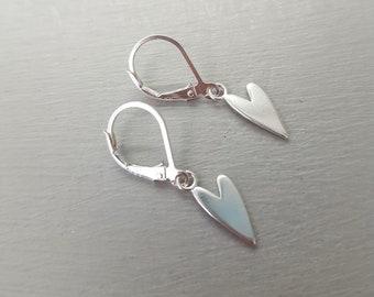 Sterling Silver heart earrings leverbacks hook studs simple heart earrings 925 Silver heart earrings heart jewellery gift for girlfriend mum