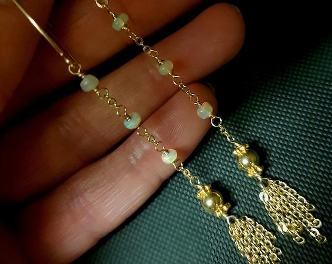 Ethiopian Opal earrings 18K Gold Fill wire wrap tiny AAA  Fire Opal earrings tassel long Opal earrings October birthstone jewellery gift