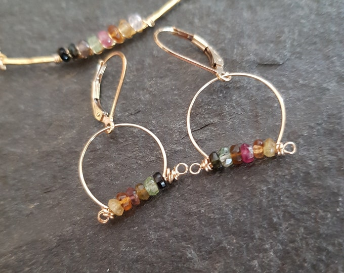 Small Tourmaline earrings Gold Fill / Sterling Silver genuine tiny 4mm multi Tourmaline gemstone hoop earrings October Birthstone jewellery