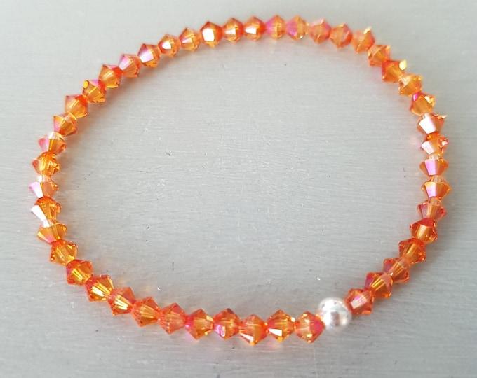 Orange Swarovski crystal stretch bracelet Sterling Silver or Gold Fill small tiny 4mm orange pink crystal bead bracelet Stacking Boho gift