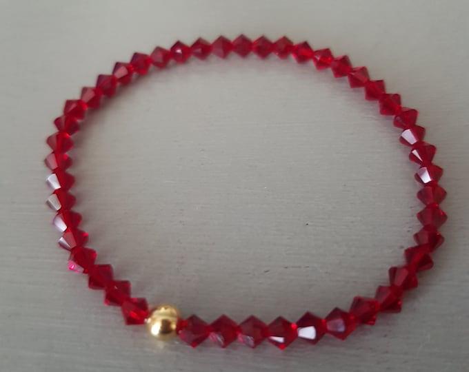 Red Swarovski crystal stretch bracelet Sterling Silver Gold Fill tiny ruby elastic bracelet Swarovski jewelry July birthstone jewellery gift