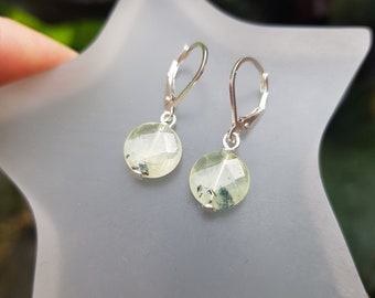 Small Prehnite earrings Sterling Silver light green gemstone earrings tiny faceted coin drop earring  Healing Crystal jewellery gift for her