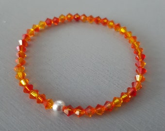 Fire Opal Swarovski crystal stretch bracelet Sterling Silver or Gold Fill bead tiny 4mm orange crystal bead bracelet Stacking Boho gift