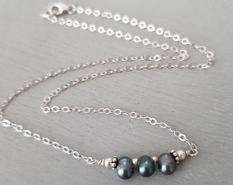 Tiny Freshwater Pearl necklace choker Sterling Silver or Gold Fill Peacock grey pearl necklace simple gray pearl necklace Pearl jewelry gift