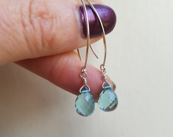 Aquamarine earrings Sterling Silver wire wrapped small faceted teardrop gemstone earrings blue earrings March Birthstone jewelry gift