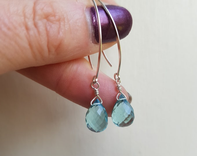 Aquamarine earrings Sterling Silver or Gold Fill long hook wire wrapped small faceted blue teardrop earrings March Birthstone jewellery gift