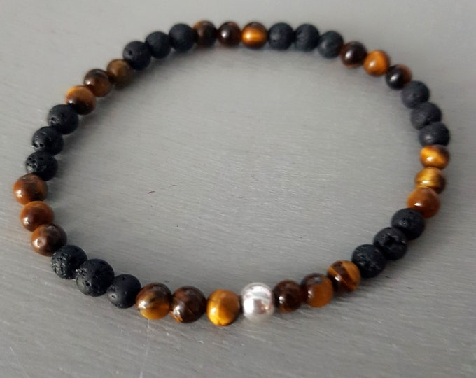 TIGER'S EYE and LAVA Sterling Silver stretch bracelet tiny 4mm Yoga Chakra jewelry jewellery healing Gift