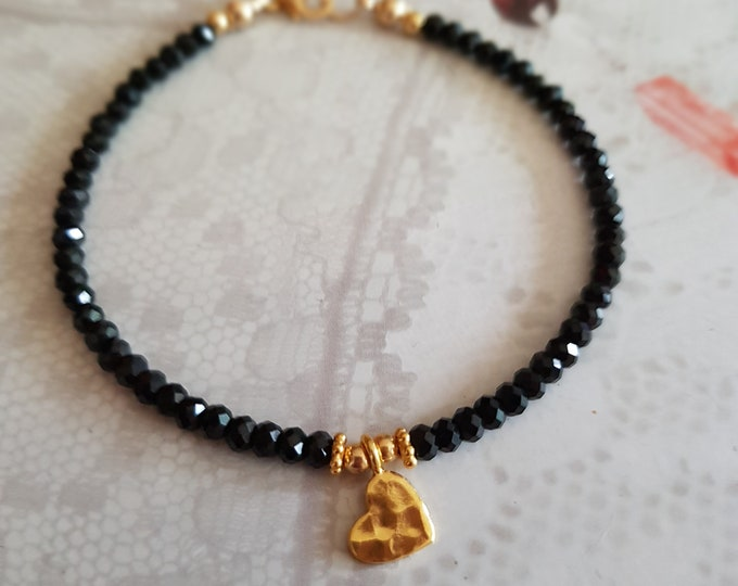 Gold Filled Tiny Black Spinel bracelet with 24K Gold Vermeil hammered heart