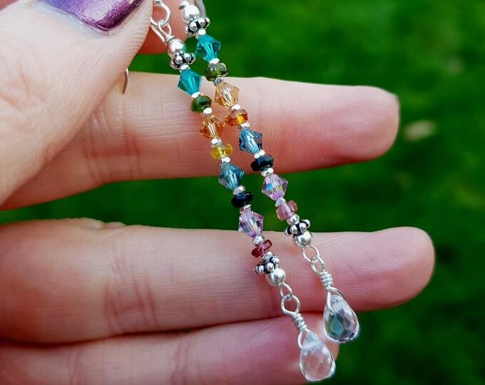 Watermelon Tourmaline earrings Sterling Silver long genuine Tourmaline & Swarovski crystal drop earrings October Birthstone jewellery gift