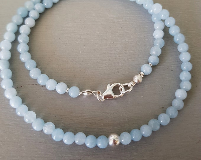 Aquamarine necklace choker Sterling Silver or Gold small 4mm real blue gemstone bead necklace March Birthstone jewellery Aquamarine jewelry