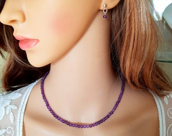 Tiny Amethyst necklace choker Sterling Silver purple gemstone bead necklace February Birthstone jewelry Crown Chakra Healing crystal gift
