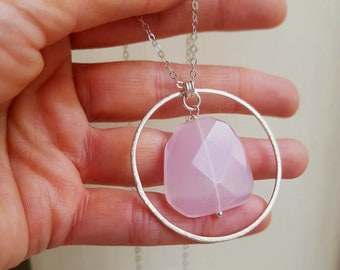 Large Rose Quartz pendant necklace Sterling Silver- January Birthstone jewellery gift - Heart Chakra - Yoga lover