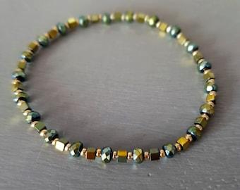 Green and gold Hematite crystal stretch bracelet 4mm tiny gemstone bead bracelet minimalist beaded Jewelry gift