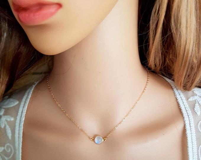 18K Gold fill Moonstone necklace choker genuine white gemstone stacking layering June Birthstone jewellery minimalist Jewelry gift Jewelry