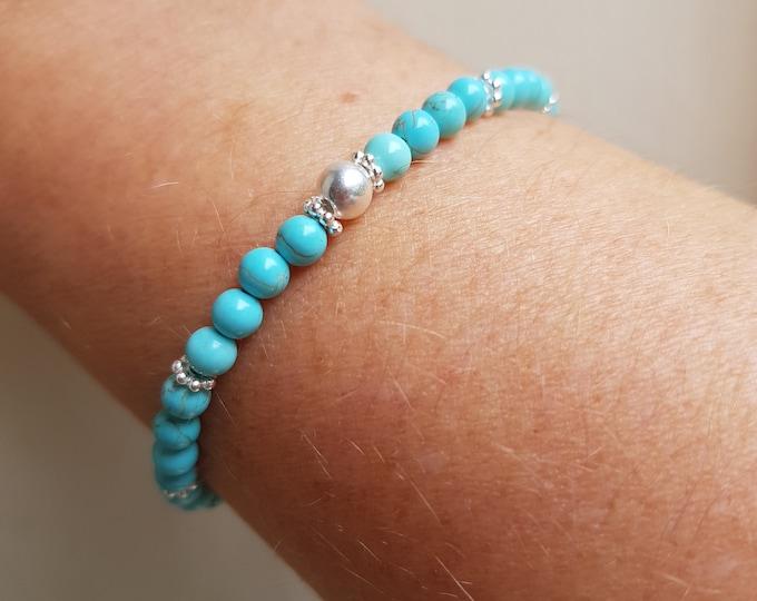Silver tiny TURQUOISE Bracelet Sterling Silver small 4mm blue gemstone bead stretch Bracelet beaded December Birthstone jewellery gift