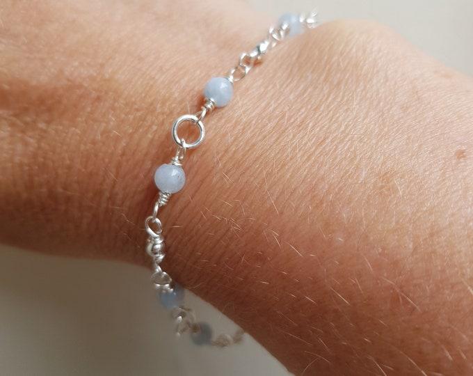Tiny AQUAMARINE Bracelet Sterling Silver 4mm blue gemstone Bead Bracelet beaded wire wrap March Birthstone jewellery gift healing jewelry