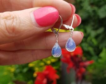 Opal Quartz earrings Sterling Silver or Gold / Rose Gold small Opalized Quartz gemstone teardrop earrings October birthstone jewellery gift