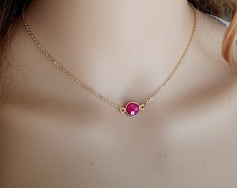 Tiny red Ruby necklace choker 18K Gold fill small red gemstone necklace layering July Birthstone jewellery minimalist Chakra healing Jewelry