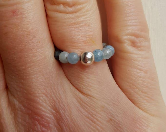 AQUAMARINE STRETCH ring Sterling Silver - March Birthstone jewelry - chakra jewellery gift
