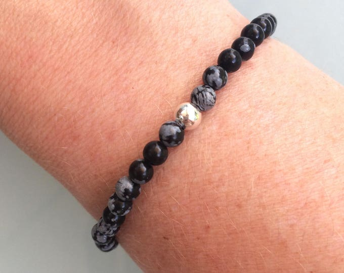 SNOWFLAKE OBSIDIAN stretch Bracelet Sterling Silver Black & gray tiny gemstone bead Bracelet small Beaded Bracelet chakra jewelry jewellery