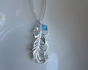 Sterling Silver feather pendant necklace -  personalised Birthstone necklace