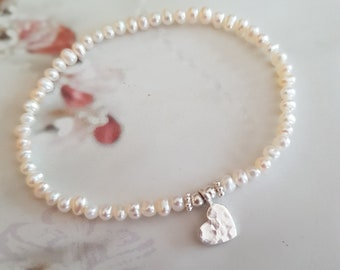 Tiny Freshwater seed Pearl STRETCH Bracelet Sterling Silver heart small white pearl Bracelet simple pearl bracelet real pearl jewellery gift