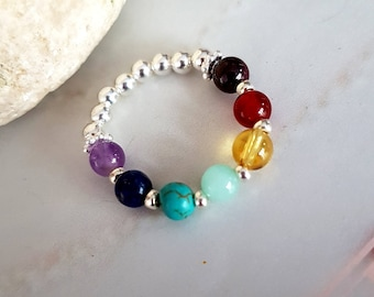 7 CHAKRA ring Sterling Silver tiny gemstone bead ring 4mm small beaded stretch ring YOGA ring Chakra jewelry Boho jewellery Rainbow Healing