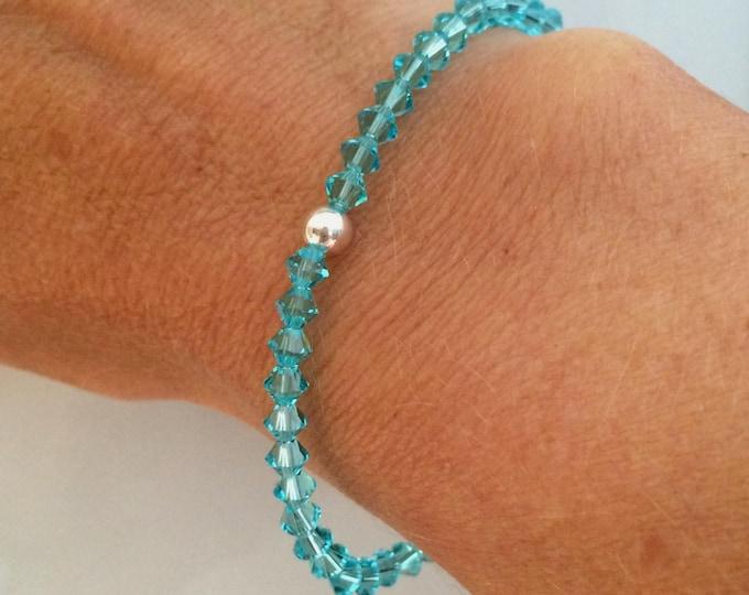 Apatite blue Swarovski crystal stretch bracelet Sterling Silver / Gold Fill Swarovski Crystal jewellery gift for girl