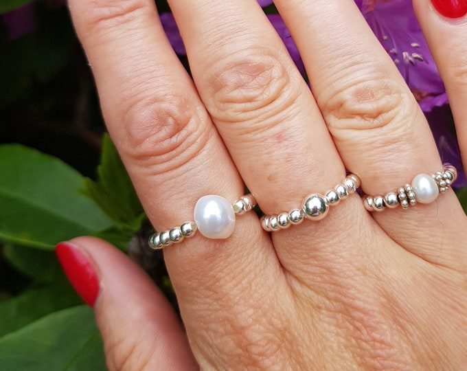 Sterling Silver Freshwater Pearl stretch ring beaded stacking white Baroque pearl ring large white Pearl ring jewelry real pearl jewellery