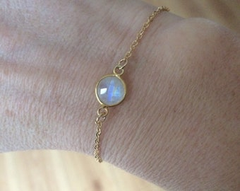18K Gold fill tiny Moonstone bracelet Gold bracelet stacking - June Birthstone jewellery - minimalist Chakra Jewelry gift