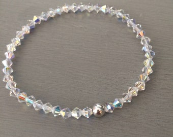 AB Swarovski crystal stretch bracelet Sterling Silver or Gold bead AB crystal stacking bracelet boho Swarovski jewellery jewelry gift